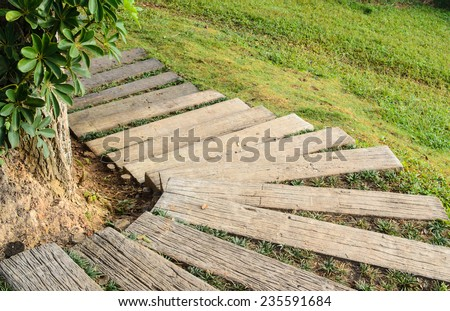 Old Wooden Stairs In The Park