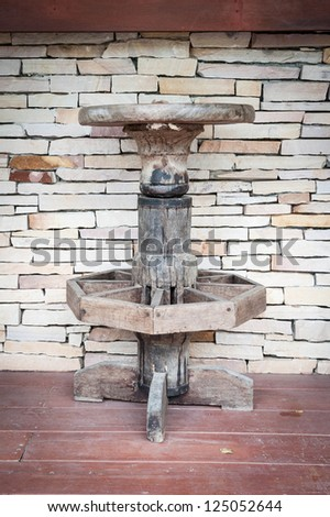old wooden stool country style in front of bar - stock photo