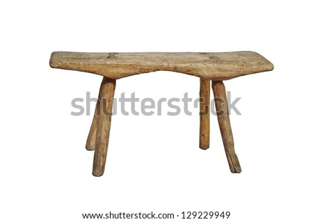 Old wooden stool, isolated on white background