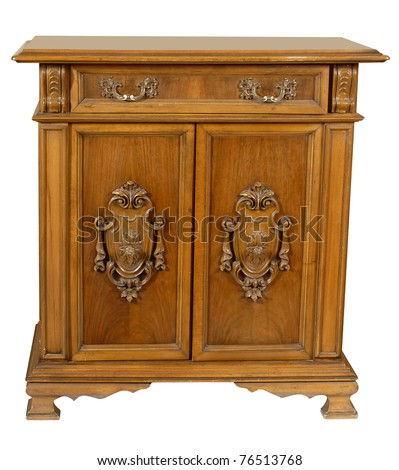 old wooden style cupboard - stock photo