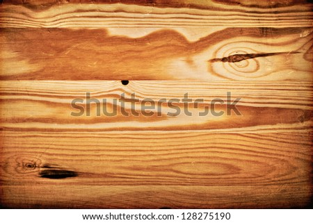 Old wooden table background. Retro style. Macro texture. Top view - stock photo