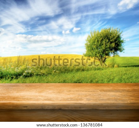 Old wooden table for Your photo montage for Your product display - stock photo