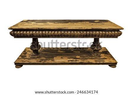 Old wooden table isolated on white.