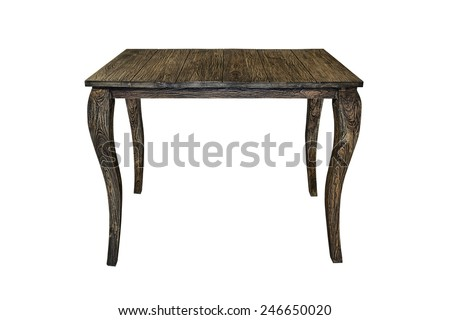 Old wooden table isolated on white. - stock photo