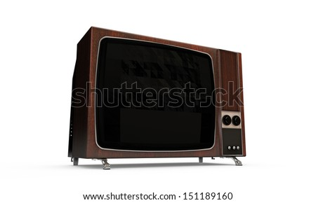 old wooden television - stock photo