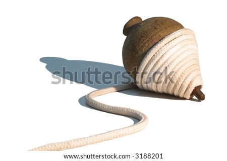 Old, wooden top with string. - stock photo
