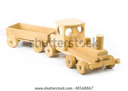 old wooden train on a white back ground - stock photo