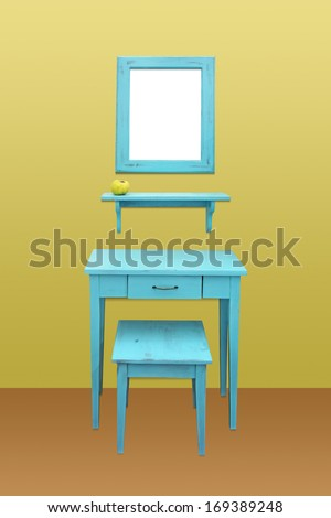 Old wooden vanity table, chair and mirror - stock photo