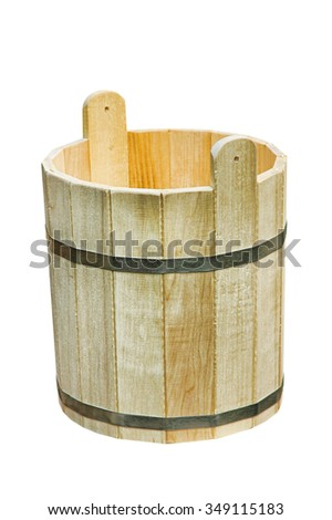Old wooden vat isolated on white background.