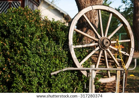 old wooden wagon wheel in the garden. subject exterior courtyard