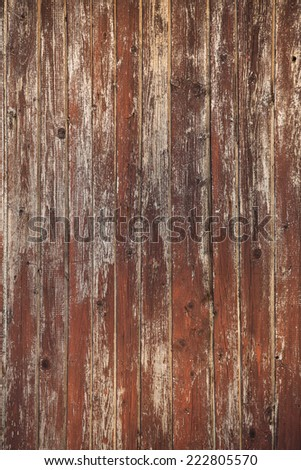 Old wooden wall, brown painted, outdoor weathered - stock photo