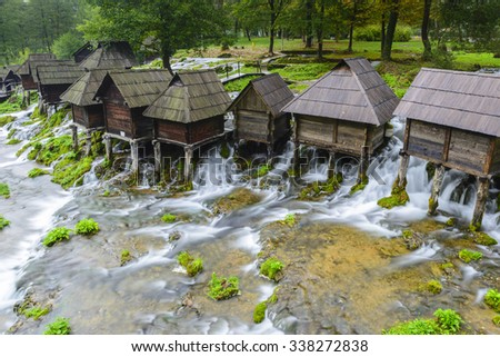 Old wooden water mills, Jajce in Bosnia and Herzegovina - stock photo
