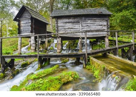Old wooden water mills, Jajce in Bosnia and Herzegovina - stock photo