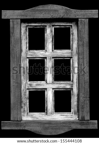 Old wooden western  saloon window isolated on black background. - stock photo
