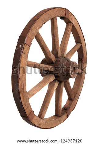Old wooden wheel on the white background - stock photo