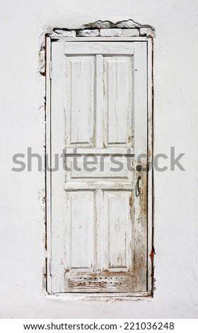 old wooden white door - stock photo
