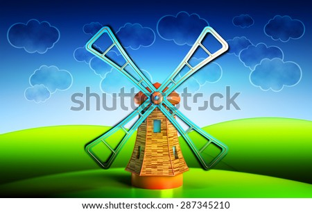 Old wooden windmill on the hills illustration, farmhouse landscape with blue sky and clouds background - stock photo