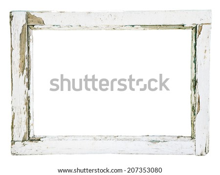 Old wooden window frame on a white background - stock photo
