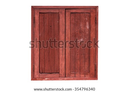 Old wooden window  isolated on white background. Thailand traditional style .