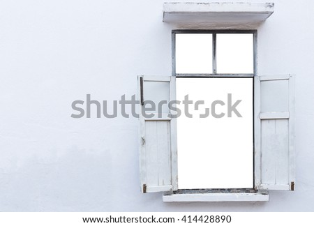 Old wooden window on grunge white cement wall exterior - stock photo