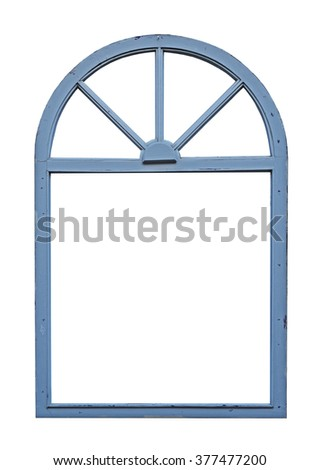 Old wooden window with arch - stock photo