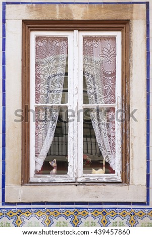 Old wooden window with white curtains crochet and two cats peeking - stock photo