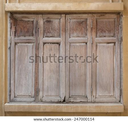Old wooden windows - stock photo