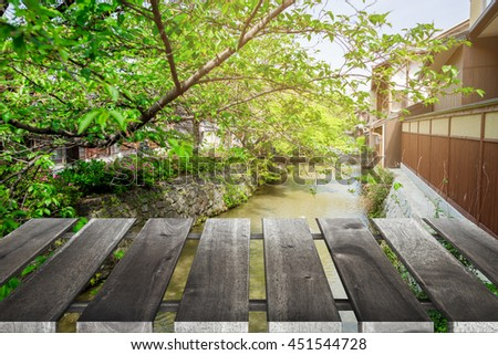 Old wooden with japan background.