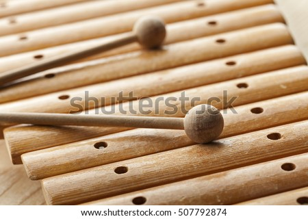 Old wooden xylophone close up