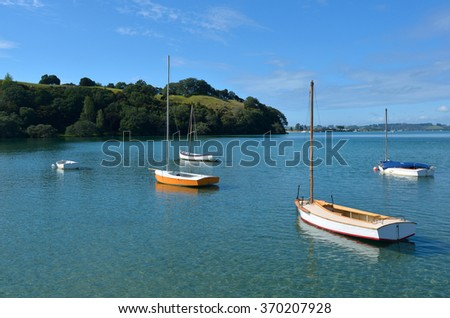 Old wooden yachts in Leigh, New Zealand. - stock photo