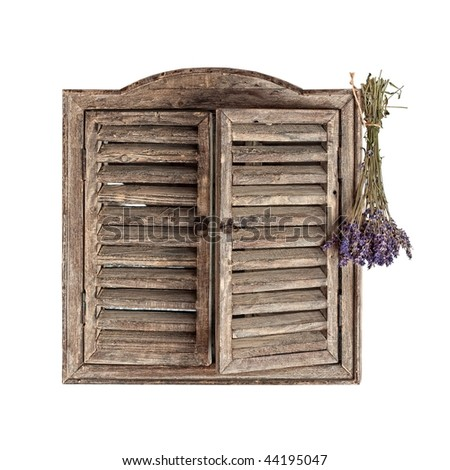 Old woody window isolated on white