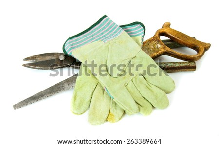 Old working tools. Vintage working tools on white background. - stock photo