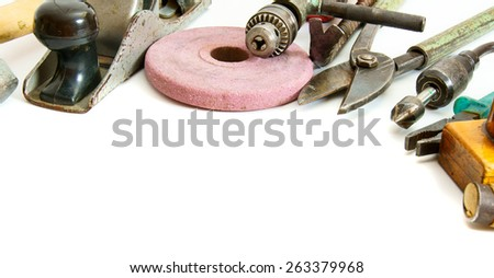 Old working tools. Vintage working tools ( plane, scissors and others) on white background. - stock photo