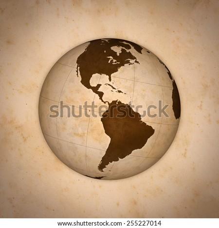 Old World Globe, America. - stock photo