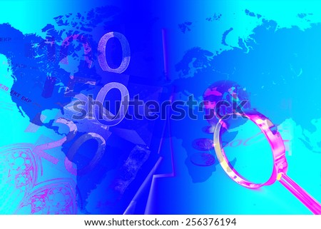 old world globe ,money and a magnifying glass, on white background. abstract background to solution of import,export,and on line international commercial - stock photo