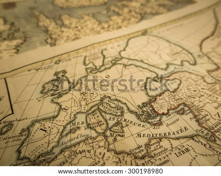Old world map Europe - stock photo