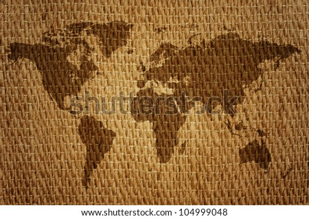 Old world map on a sack. - stock photo