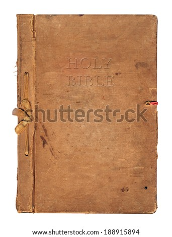 Old worn book cover with ribbon and bow isolated on white background - stock photo