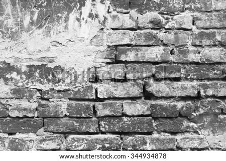 Old worn brick wall texture background. - stock photo