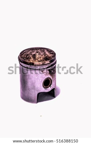 Old Worn Engine Piston Isolated on White Background