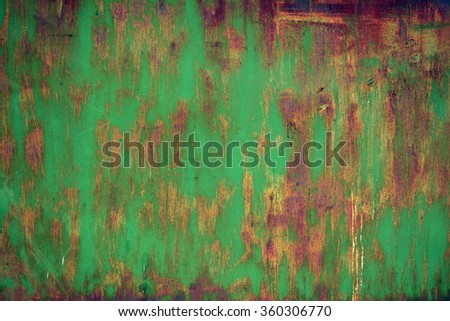 Old worn metal surface with paint. Rusty metal texture. Metal sheet with rust and worn paint. Background. Metal. Wall. Floor. - stock photo