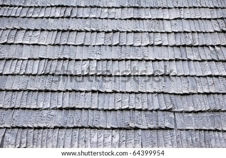 old worn shingle roof pattern - stock photo