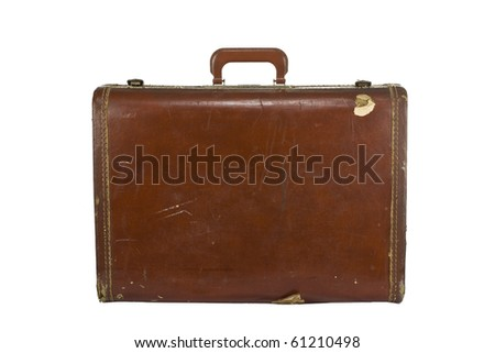 Old worn vintage suitcase. Isolated on white. - stock photo