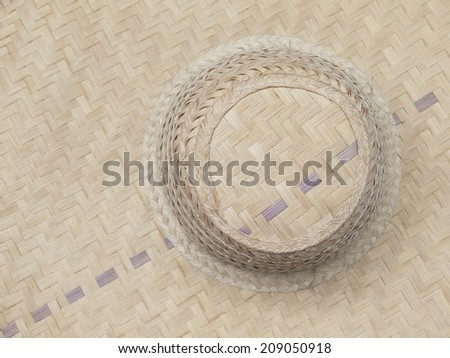 old woven bamboo hat pattern - stock photo