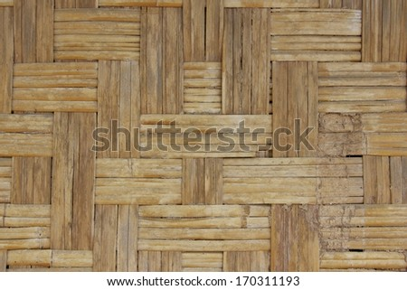 Old woven wood pattern, Native Thai style bamboo wall, natural wickerwork