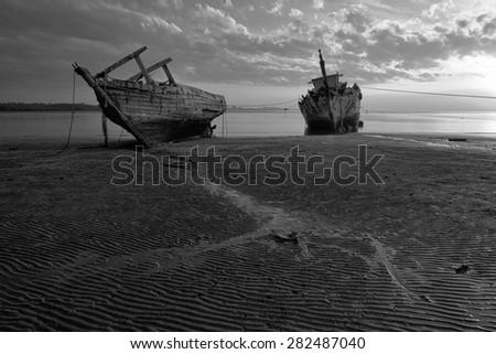 Old wrecked ship in Kuala Penyu, Sabah, Borneo, Malaysia (Black and White)  - stock photo