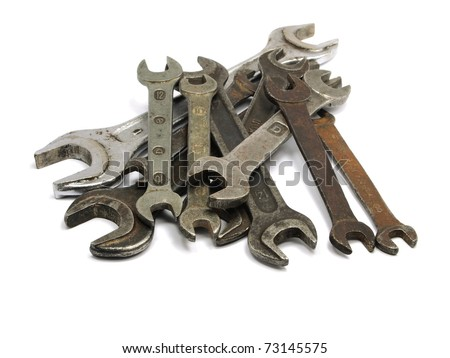 old wrench on a white background - stock photo