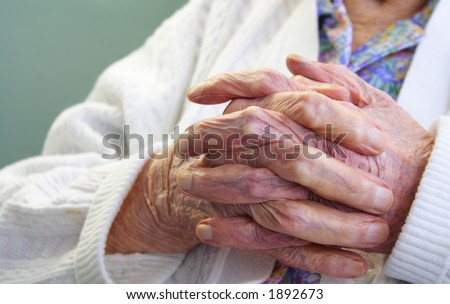 Old wrinkle hands - stock photo