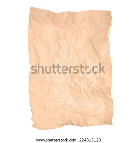 Old wrinkled brown paper texture isolated on white background (brown paper sheet) - stock photo