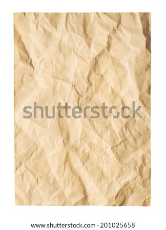 Old wrinkled paper on white background. Clipping Path - stock photo